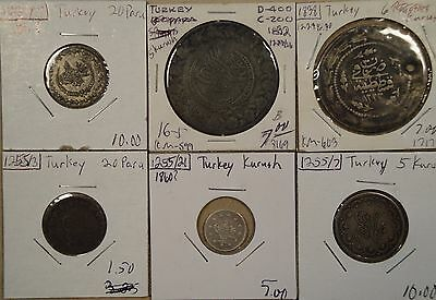 "Turkey 6 Coins Early-Mid 1800""s Low-Better Grades as Pictured"