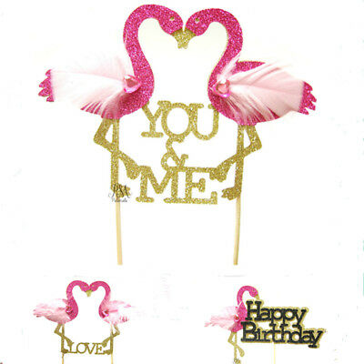 AU 1Pc Happy Birthday Flamingo Insert Card Birthday Party Cake Decoration