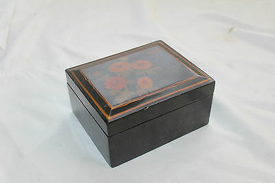 SHABBY CHIC Vintage WOODEN Box WOOD Laquered HAND PAINTED Floral Flower