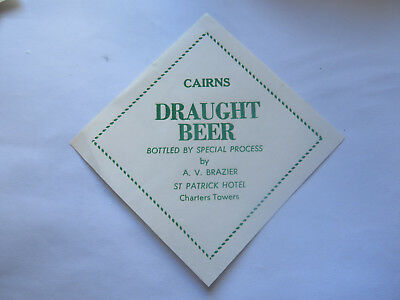 St PATRICK HOTEL CHARTERS TOWERS CAIRNS DRAUGHT BEER LABEL 1950s QUEENSLAND