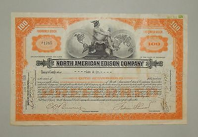 """North American Edison Company"" 100 Shares 1928 - common stock / Aktie"