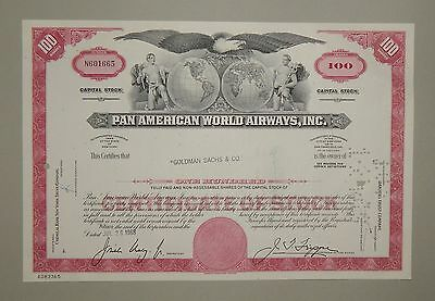 """Pan American World Airways Inc."" 100 Shares 1968 - common stock / Aktie"