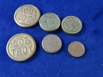 6 Antique/Vintage Avery Troy Weights, 0.5 - 0.1 ounce, 3 Different Patterns