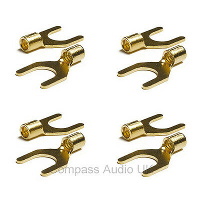 4 Gold Spade Terminal Connectors for Speaker Cable Crimp or Solder 8mm Fork