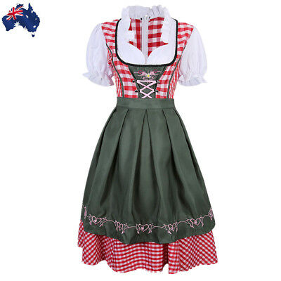 Womens Beer Maid Costume Oktoberfest Wench Dirndl Bavarian Outfit Dress