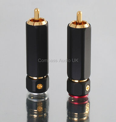 4 PRO PHONO RCA PLUGS Heavy Duty Locking Large Cable Entry Connectors