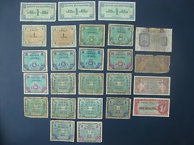 25No. WWII MILITARY BANKNOTE COLLECTION/BULK LOT~FRANCE, GERMANY, BRITAIN, ITALY