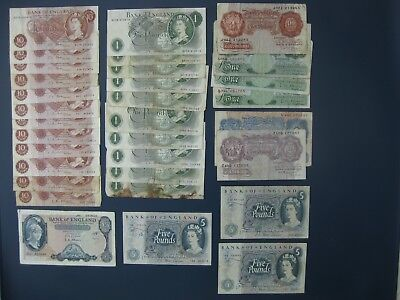 32No. ENGLAND 10/- £1 £5 BANKNOTE COLLECTION/BULK LOT~PAGE, FFORDE, HOLLOM ETC