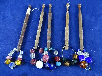 5 Lovely Antique Lace Bobbins with Beads