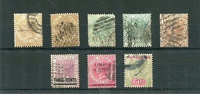 Straits Settlements. 8 -- Qv Used Stamps On Stockcard