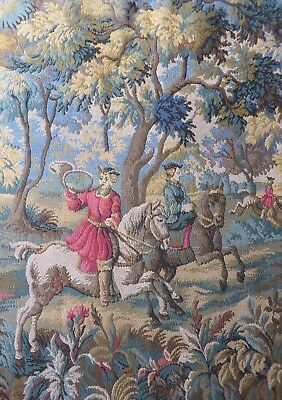 Beautiful Vintage French Tapestry Panel / Wall Hanging ~ Woodland Scene ~