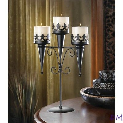 4 Medieval Gothic Triple Candle Candelabra Stand Wedding Table Centerpieces