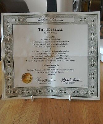 Franklin Mint Collector's Plate James Bond Thunderball Cert only