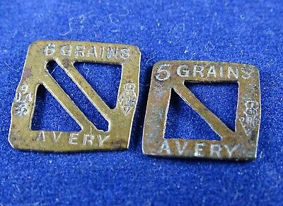 Antique Victorian Brass Grain Weights Avery Geometric Pattern 6 and 5 Grains
