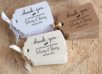 Wedding Favour Tags, Personalised, Small Thank you for sharing special day SLTY3