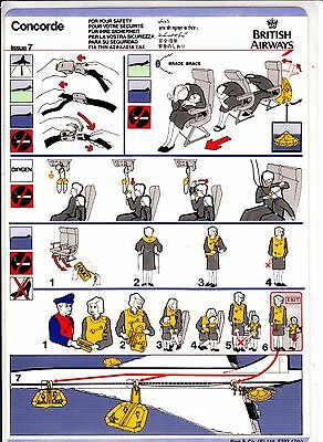*** Safety Card - British Airways Concorde - Issue 7 - F393 ***