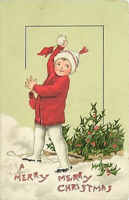 Christmas~Boy in Red Sweater~White Pants Throws Snowball~Sled~TUCK Xmas Children
