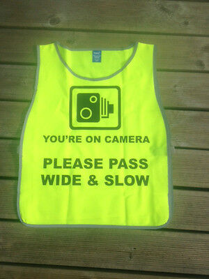 HiViz tabard, Camera logo, 'Please pass wide and slow' BOTH SIDES. COLOURS TOO!