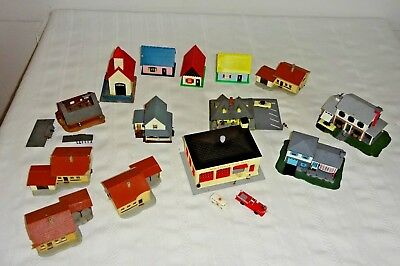 Vintage N Scale Train Houses & Buildings  14 Structures  Various Condition  1960