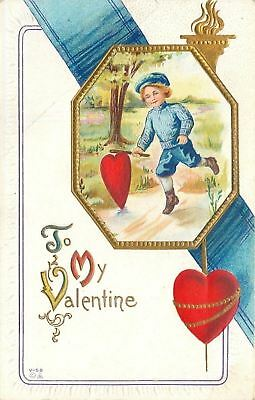 Valentine~Victorian Boy Plays Rolling Hoop With Heart~Blue Ribbon~Gold~Nash V-58