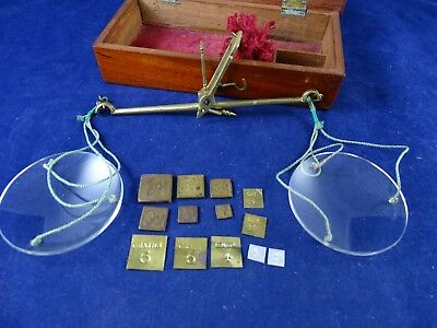 Lovely Antique Apothecary Cased All Brass Balance + Set Weights