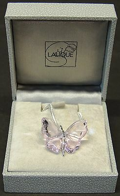 Stunning Lalique Crystal Baby Pink Butterfly Pendant Mib Signed Silver Chain