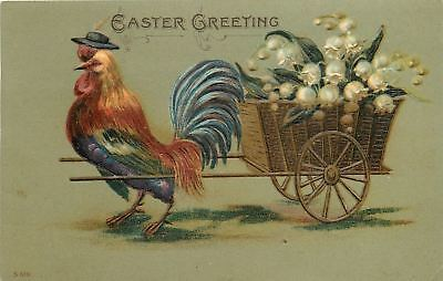 Fantasy Easter~Rooster In Black Hat Pulls Two Wheel Cart~Lily Of Valley~Emboss