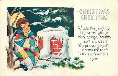 Christmas~Child~Patchwork Quilt~Waits For Santa In Tree~Chimney~Emb~Whitney Made