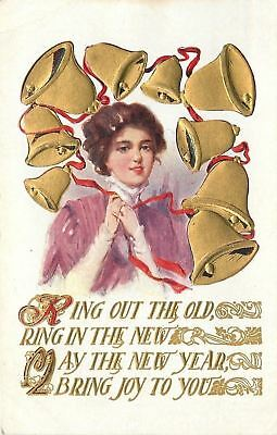 New Year~Gold Bells Ring Out The Old~Ring In New~Victorian Lady~Red Ribbon~Emb