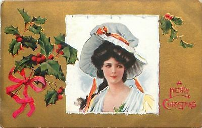 Archie Gunn~Lovely Christmas Lady~Square Icy Frame~Big Bonnet~Gold Back~Emboss