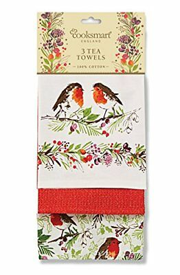Cooksmart Winter Chorus Robin Cotton Tea Towels 3PK Christmas Xmas Dining