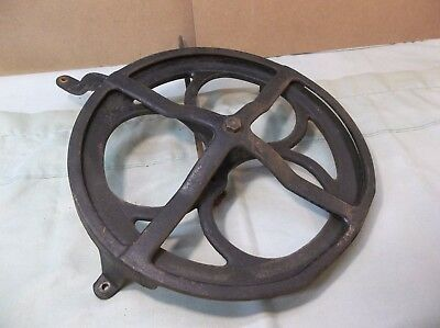 Antique WHITE treadle sewing machine cabinet flywheel with guard and Pitman rod