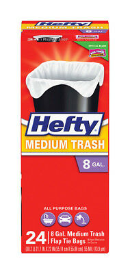 NEW! HEFTY 8 Gallon Trash Bags Flap Tie 24-Pack!  00E58015