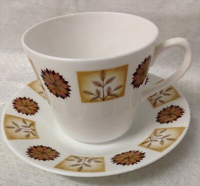 Retro Cup & Saucer Duo Royal Vale Ridgway Pottery Brown Floral Design