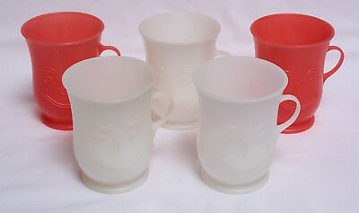 FIVE Vintage Cool Aid Plastic Cups Red White