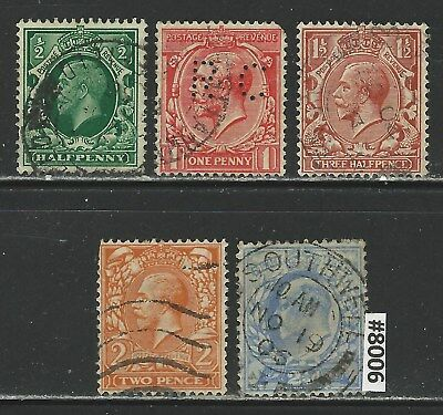 #8006 GREAT BRITAIN Sc#159-163 Used King George V 1912-13 Combine Shipping
