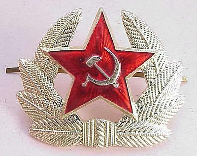 1970 year. RUSSIAN HAT ENAMEL RED STAR BADGE PIN INSIGNIA GOLD AWARD SOVIET ARMY