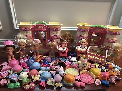 Fisher Price Snap N Style Lot Wardrobes Dolls 100 pcs Clothes Outfit Shoes Brush