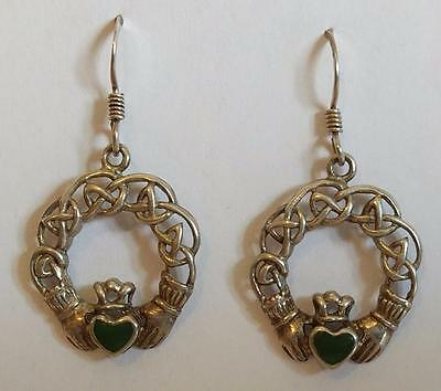Vintage Absolutely Gorgeous Celtic Malachite Stone Hearts Silver Drop Earrings