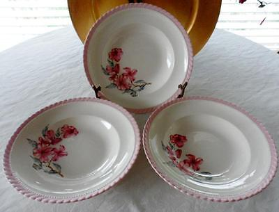 3-SOUP BOWLS: Steubenville MONTICELLO Pink Dogwood Imported by Herman C. Kupper