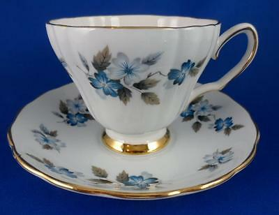 Teacup & Saucer English Bone China  Blue Flowers~Gold Ridgway COLCLOUGH #8182