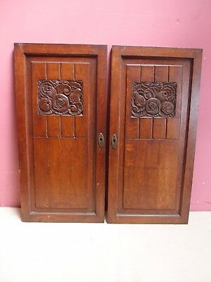 Pair of Antique Art Deco Hand Carved Oak Panelled Doors Styilised Fruit