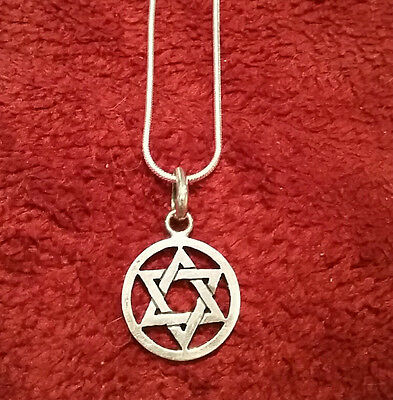 """NEW Hexagon Star of David Solomons Seal Pentacle Silver Necklace 18"""" Snake Chain"""