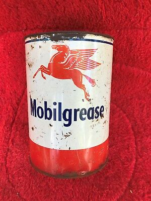 vintage MobilGrease Pegasus Grease 5 Pound Can empty red white metal
