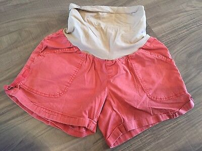 Maternity Shorts, Coral Colored, Medium, Full Belly Band