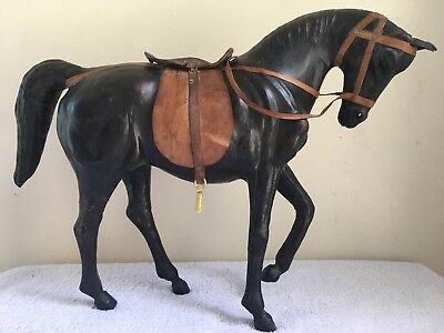 "Vintage Dark Brown Leather Wrapped Horse Statue With Bridle & Saddle 11"" x 13.5"""