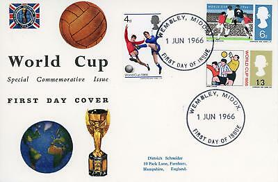 GB 1966 World Cup (ord) Scarce illustrated FDC with WEMBLEY FDI