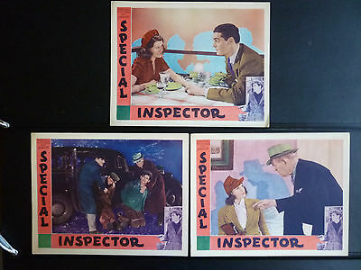 1938 Special Inspector - 7 Exc.- N. Mint Lobby Cards - Rita Hayworth Crime Drama