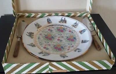 Great Vintage BAVARIA Auf Feines Porzellan SERVING CAKE PLATE+KNIFE SET NEW +BOX