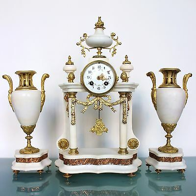 CLOCK Mantel A.D. MOUGIN 1890s French ANTIQUE ORMOLU TOP SET Marble GILDED Chime